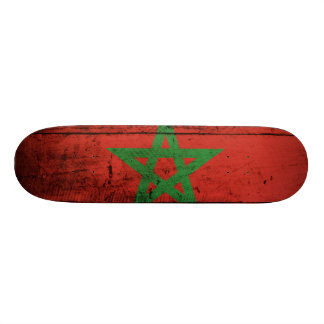 Morocco Flag on Old Wood Grain Skateboard