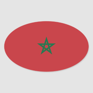 Morocco Flag Oval Sticker   Marokko-Flagge Aufkleb