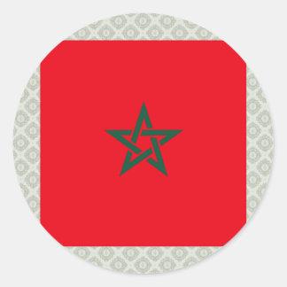 Morocco High quality Flag Classic Round Sticker