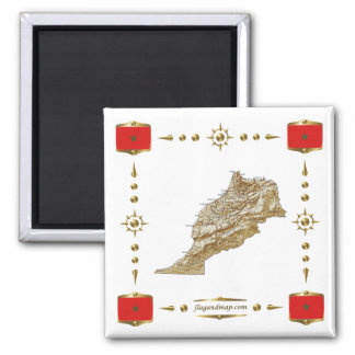 Morocco Map + Flags Magnet