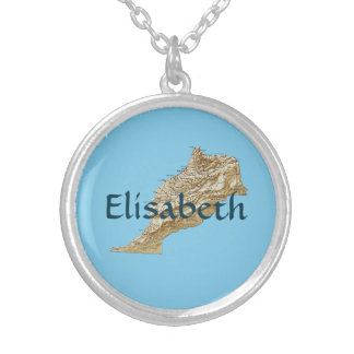 Morocco Map + Name Necklace