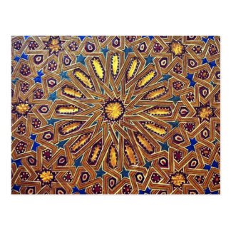 morocco mosaic islam decoration geometry arab postcard