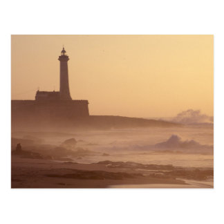 Morocco, Rabat, Lighthouse at sunset with Postcard