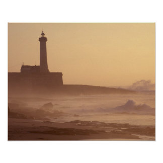 Morocco, Rabat, Lighthouse at sunset with Print