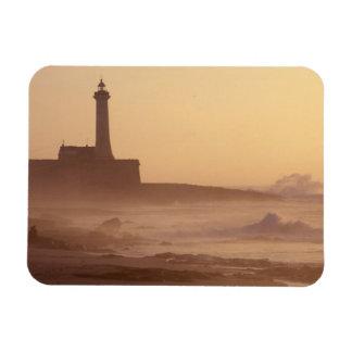 Morocco, Rabat, Lighthouse at sunset with Rectangular Photo Magnet
