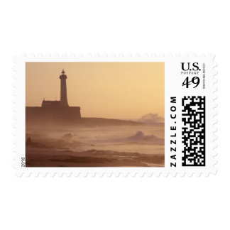Morocco, Rabat, Lighthouse at sunset with Stamp