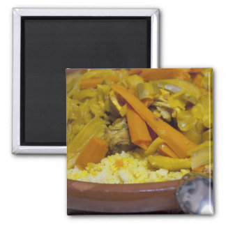 Morocco, Tetouan. Traditional Moroccan meal of 2 Inch Square Magnet