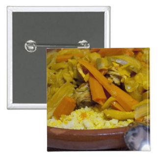 Morocco, Tetouan. Traditional Moroccan meal of Pinback Button