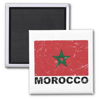 Morocco Vintage Flag 2 Inch Square Magnet