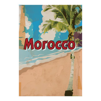 Morocco Vintage vacation Poster
