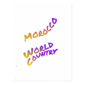 Morocco world country,  colorful text art postcard