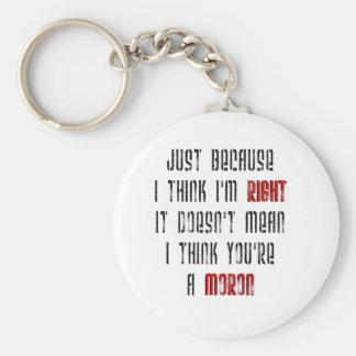 Moron Basic Round Button Keychain