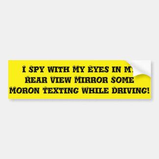 MORON TEXTING WHEN DRIVING BUMPER STICK CAR BUMPER STICKER