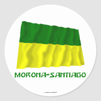 Morona-Santiago waving flag with Name Classic Round Sticker
