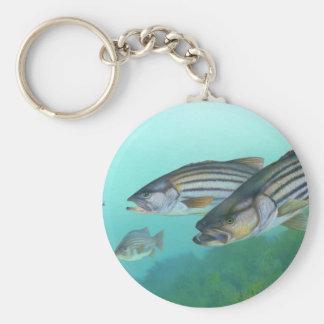 Morone atlántico Saxatilis de los pescados de la l Llavero Personalizado