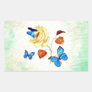 Morph Butterflies on Yellow Rose Rectangular Sticker