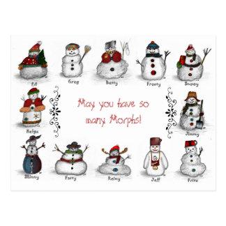 Morph Snowman Variations Postcard