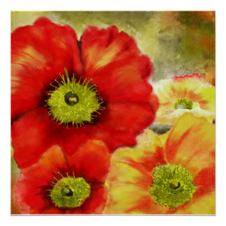 Morpheus's Abstract Red Poppies Poster