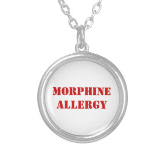 MORPHINE ALLERGY SILVER PLATED NECKLACE