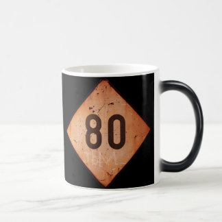 Morphing Mug: Vintage Railroad 80 Speed Train Sign 11 Oz Magic Heat Color-Changing Coffee Mug
