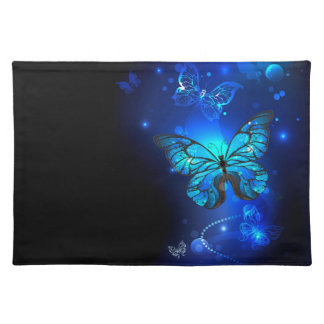 Morpho Butterfly in the Dark Background Cloth Placemat