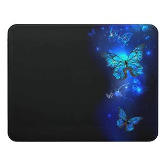 Morpho Butterfly in the Dark Background Door Sign