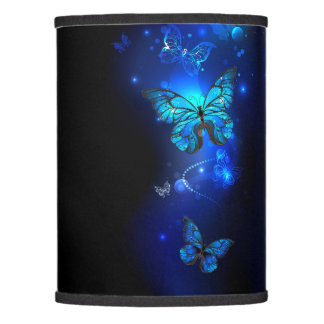 Morpho Butterfly in the Dark Background Lamp Shade