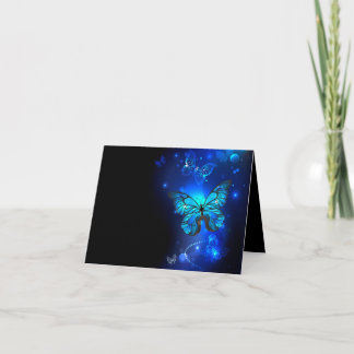 Morpho Butterfly in the Dark Background Note Card