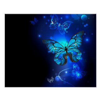 Morpho Butterfly in the Dark Background Poster