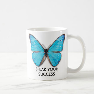 MORPHO BUTTERFLY, SPEAK YOUR SUCCESS CLASSIC WHITE COFFEE MUG