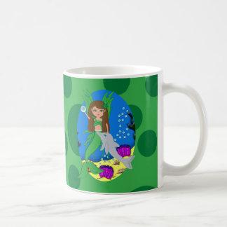 Morrigan the Green Merfaery and Dolphin Mug
