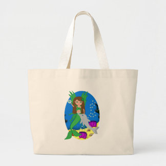 Morrigan the Green Merfaery and Dolphin Tote Bag