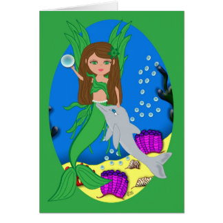 Morrigan the Merfaery and Dolphin Card
