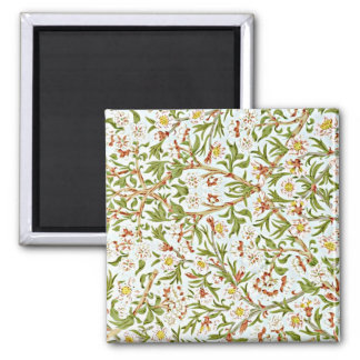 Morris - Delicate Floral Blossom Pattern 2 Inch Square Magnet