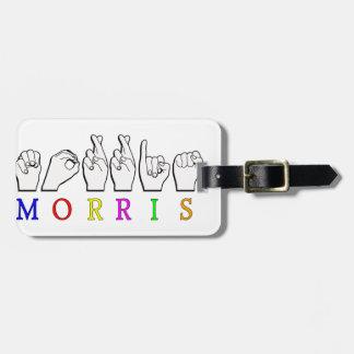 MORRIS FINGERSPELLED ASL SIGN LUGGAGE TAGS