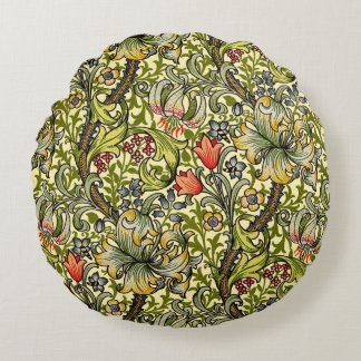 Morris Golden Lily Pattern Cushions Round Pillow