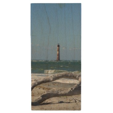 Beach Themed Morris Lighthouse And Tree Remains Wood Flash Drive