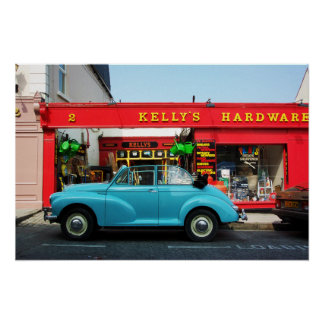 Morris Minor at Kelly's Hardware Poster