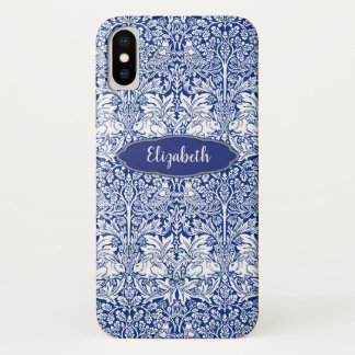 Morris Pattern Blue Rabbit Personalized Monogram iPhone X Case
