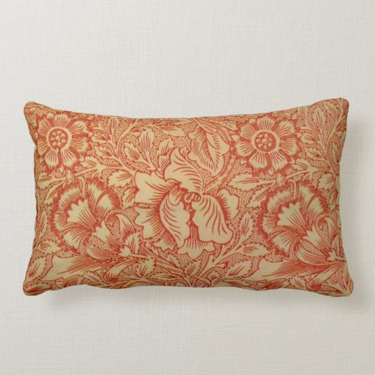 Morris - Pink and Poppy.floral pattern Lumbar Pillow