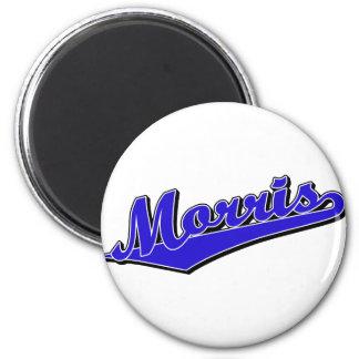 Morris script logo in blue magnet