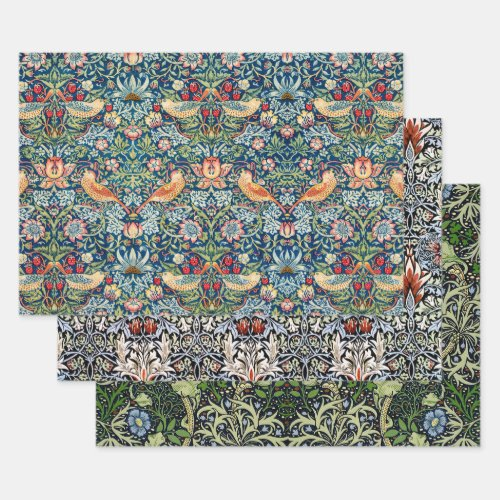 MORRIS STRAWBERRY, SNAKEHEAD & SEAWEED DECOUPAGE WRAPPING PAPER SHEETS