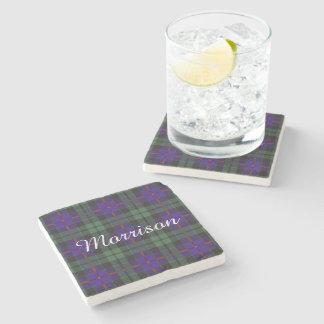 Morrison clan Plaid Scottish tartan Stone Coaster