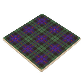 Morrison clan Plaid Scottish tartan Maple Wood Coaster