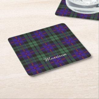 Morrison clan Plaid Scottish tartan Square Paper Coaster