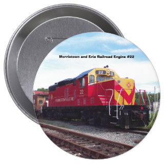 Morristown and Erie Railroad Engine #22 4 Inch Round Button