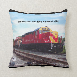 Morristown and Erie Railroad Engine #22 Throw Pillow