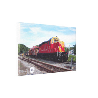 Morristown and Erie Railroad Engine # 22 Wrapped Stretched Canvas Print