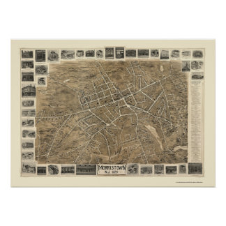 Morristown, mapa panorámico de NJ - 1899 Impresiones