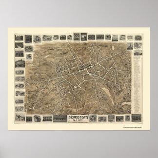 Morristown, mapa panorámico de NJ - 1899 Póster